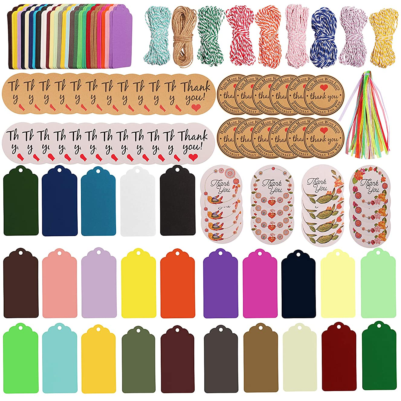 SUBANG 337 Pieces Gift Tags Set Including 250 Pcs 25 Colors Gift Paper Tags, 30 Pcs Ribbons, 9 Pcs Bakers Twine and 48 Pcs Thank You Stickers for Arts and Crafts, Wedding Christmas Day