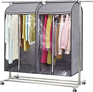 """MISSLO 43"""" Hanging Garment Bags for Storage Well Sealed Clothes Dust Cover with Large Clear Window and 3 Zippers Opening f..."""