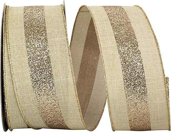 Amazon Com Reliant Ribbon Glitter Grand Center Stripe Linen Wired Edge Ribbon 2 1 2 Inch X 20 Yards Natural Gold