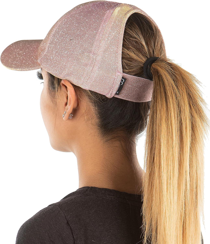Funky Junque Backless Elastic Ponycap Messy High Bun Athletic Ponytail Baseball Cap Hat