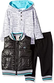 Calvin Klein Baby Boys 3 Pieces Vest Set-Jog Pants