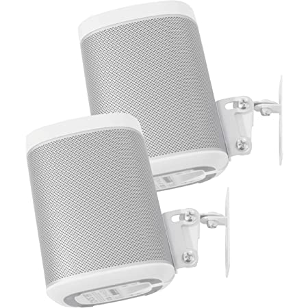 Wall Mounts Brackets-Pair Set for SONOS ONE//SONOS ONE SL and SONOS Play 1 Speaker Swivel and Tilt,Compatible with Both SONOS ONE//ONE SL and SONOS Play 1, White Pair