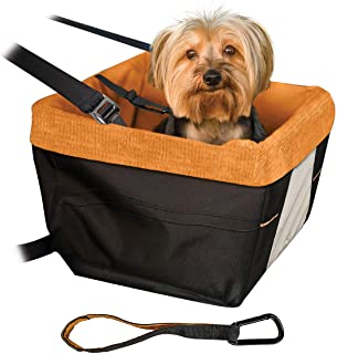 Kurgo Skybox Car Booster Seat for Dogs | Dog Seat for Cars | Waterproof Exterior | Helps with Canine Car Sickness | for Small Petsup to 30 lb | Dog Seatbelt Tether Included | Black/Orange