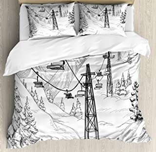 Lunarable Winter Duvet Cover Set, Ski Lift with Fir Trees Monochrome Seasonal Holiday Destination Themed Sketch, Decorative 3 Piece Bedding Set with 2 Pillow Shams, Queen Size, Black and White