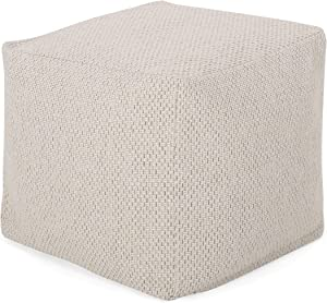 Christopher Knight Home Fannie Fabric Pouf, Ivory