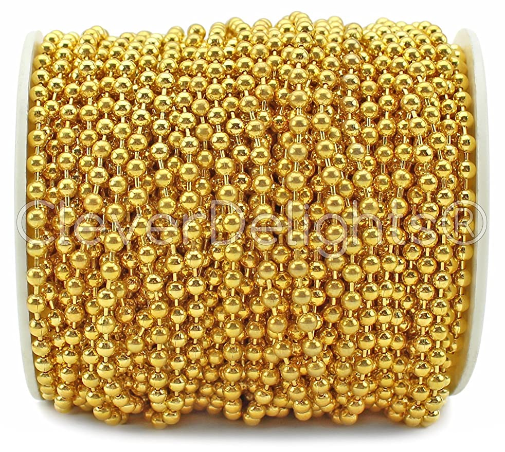 CleverDelights Ball Chain - 330 Feet - 3.2mm Ball - Gold Color
