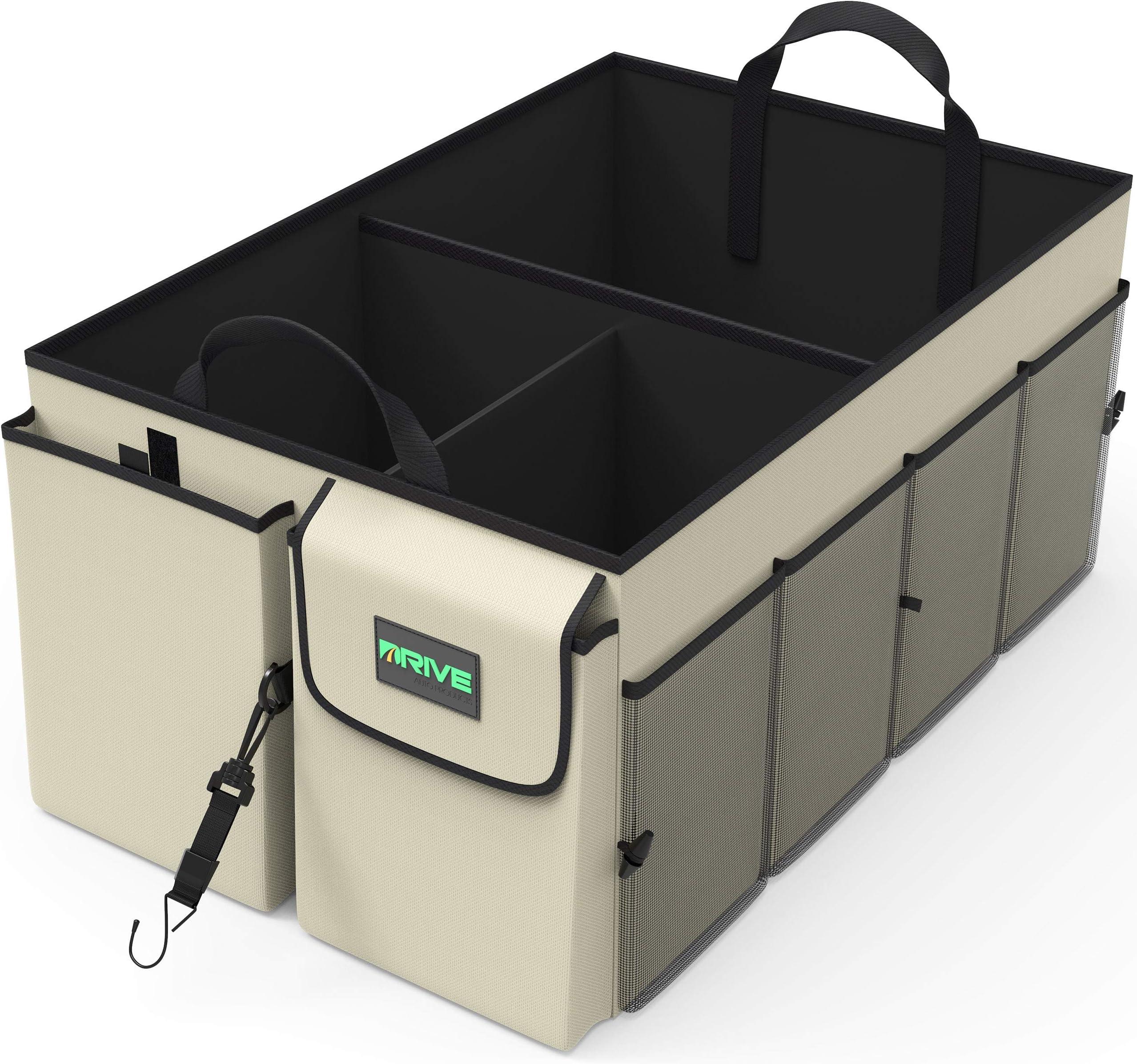 Drive Auto Trunk Organizers and Storage - Collapsible Multi-Compartment Car Organizer w/ Adjustable Straps - Automotive Consoles & Organizers (Black)