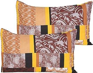 "Home Elite Designer Printed Premium 2 Pc Cotton Pillow Cover Set - 18"" x 28"", Yellow"