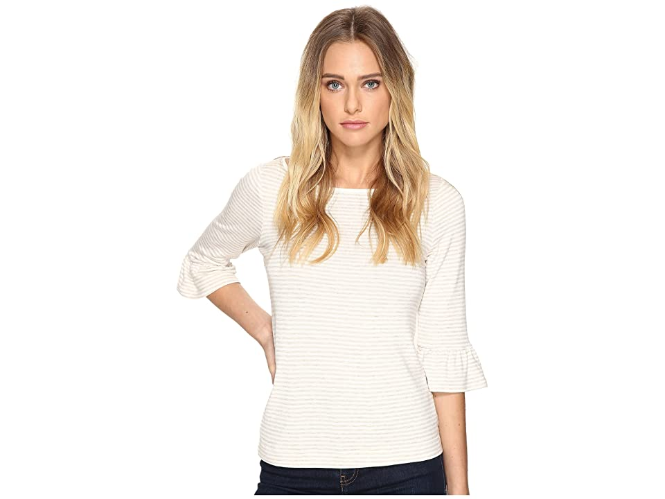 Three Dots 3/4 Sleeve Raglan Tee (Natural/White) Women
