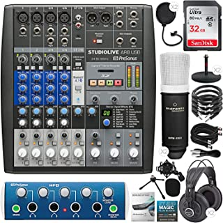 PreSonus StudioLive AR8 USB 8-Channel Hybrid Performance and Recording Mixer with ProSonus HP4 4-Channel Headphone Amplifier, 32GB Card, 2X Condenser Microphones, Premium Podcasting Kit