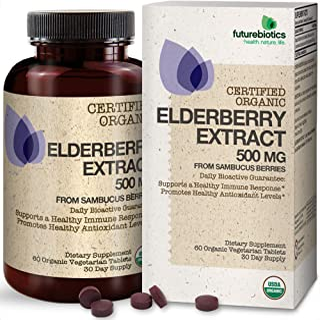 Futurebiotics Elderberry Extract 500 mg USDA Certified Organic from Sambucus Berries, 60 Vegetarian Tablets
