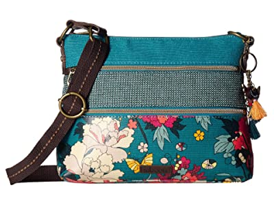 Sakroots Artist Circle Basic Crossbody (Teal Flower Power) Cross Body Handbags