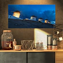 Mykonos Windmills at Blue Hour Landscape Photography Canvas Print