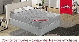 PIKOLIN Pack Colchón viscoelástico de muelles 135x190+ canapé con Base abatible en Madera y Dos Almohadas