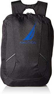 Nautica Men's J-Class Water Resistant Nylon Laptop Backpack, black, One Size