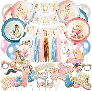 Gender Reveal Party Supplies Kit (100 pieces) - Gold Accented Boy Or Girl Banner, Artistic Boy Or Girl Balloons, Photo Booth Props, Tassels, and more gender reveal decorations - Perfect for your gender reveal party