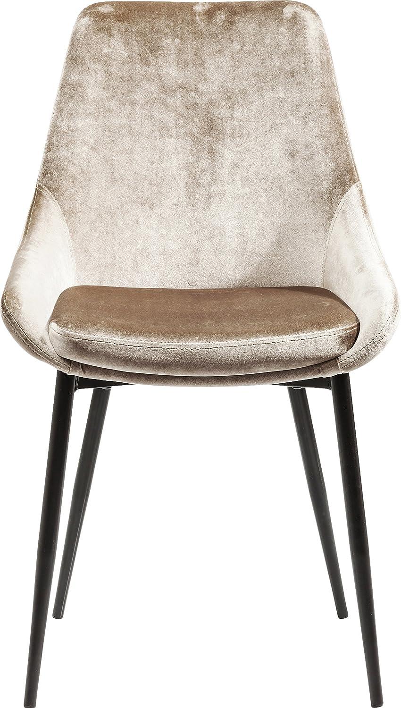 Kare Design Stuhl East Side, Polsterstuhl in Samtstoff, Esszimmerstuhl, edler Designstuhl, Beige (HxBxT) 83x48x57cm
