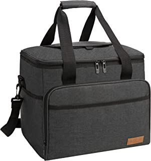 apollo walker Collapsible Insulated Soft 40-Can Cooler Bag 30L with 2 Ice Packs - Roomy for Family Reunion, Party, Beach, Picnics, Sporting Music Events, Everyday Meals to Work (Black)