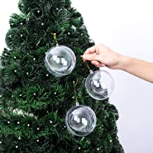 Xena 6 Pack Shatterproof Clear Reusable Fillable Plastic Christmas Ball Make Your Own Ornament Set, 4 Inches DIY Holiday Xmas Tree Decoration Present Party Favor Supplies Accessories