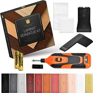 Premium Luxury Laminat Reparaturset | Für Parkett, Laminat, Holzmöbel uvm. | Profi Holzkitt mit 11 Hartwachs Stangen | Wachsschmelzer inkl. 2 Batterien