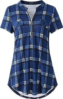 Sponsored Ad - ZENNILO Women`s Shirt Zip Plaid V Neck Short Sleeve Casual Summer Tunic Tops Blouse