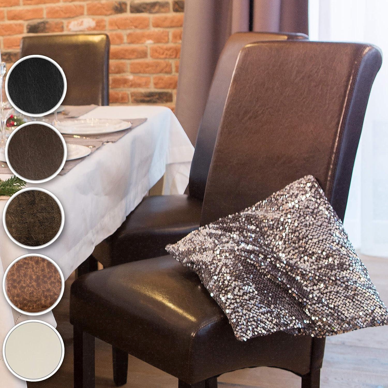 TecTake Lot de 2 chaises de salle à manger 106 cm chaise de salon mobilier meuble de salon - diverses couleurs au choix - (Marron | No. 401294) Noir | No. 401293