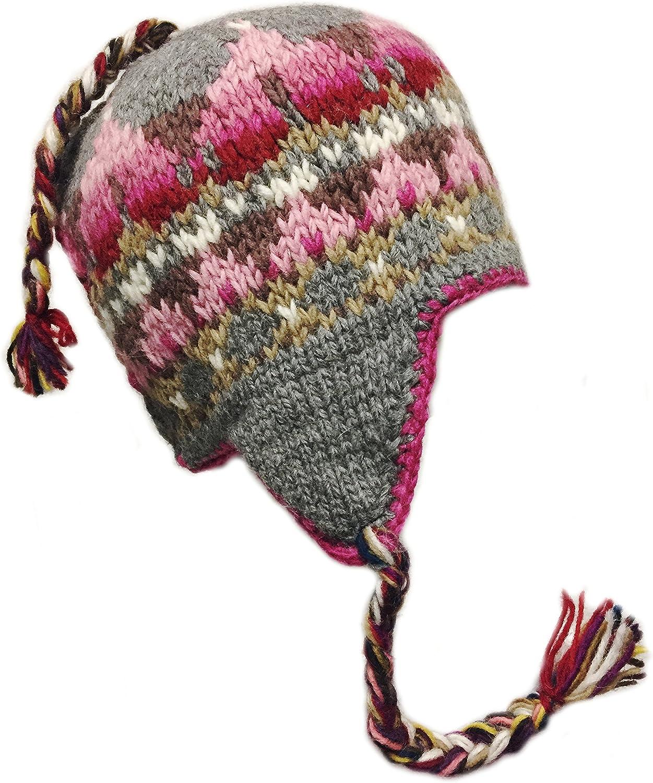 Nepal Hand Knit Sherpa Hat with Ear Flaps Trapper Ski Heavy Wool Fleeced Lined Cap