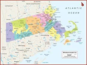 54 x 41 Large Massachusetts State Wall Map Poster with Counties - Classroom Style Map with Durable Lamination - Safe for U...