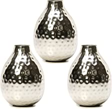 Hosley Set of 3 Metal Bud Vases - Your Choice of Colors. 4.5 Inch High. Ideal Accent Piece for Coffee and Side Tables as Well as Dried Floral Arrangements (1-Silver Finish)