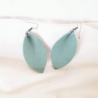Handmade Leather Leaf Earrings/Mint Green/Genuine Leather/Pinched Leaf/Statement Earrings/Boho Earrings/Green Earrings/Medium /2.5x1.25