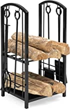 Best Choice Products 5-Piece Wrought Iron Firewood Log Storage Rack Holder Tools Set for Fireplace, Stove w/Hook, Broom, Shovel, Tongs