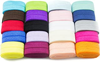 JLIKA Fold Over Elastic Stretch Foldover FOE Elastics for Hair Ties HeadBands Variety Color Pack 20 Yards