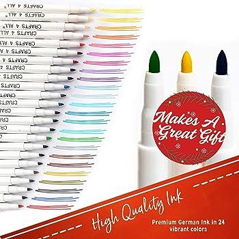 Fabric Markers Pens Permanent 24 Colors Fabric Paint Art Markers Set Child Safe & Non-Toxic. Graffiti Fine Tip Minima...
