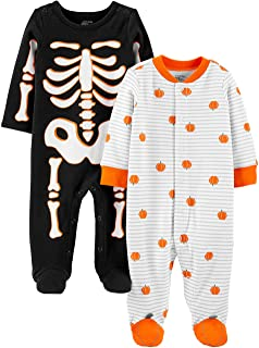 Simple Joys by Carter's Unisex-Baby 2-Pack Halloween Snap Fleece Footed Sleep and Play