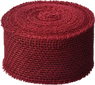 DARICE 2914-052 240gm Burlap Ribbon, 2.5-Inch by 10-Yard, Red