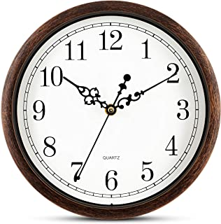 Bernhard Products Brown Wall Clock Silent Non Ticking 10 Inch Quality Quartz Battery Operated Round Easy to Read Home/Offi...