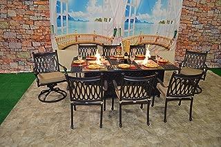 theWorldofpatio Grand Tuscany Cast Aluminum Powder Coated 9pc Dining Set with 44