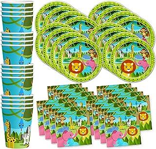 Safari Jungle Animals Birthday Party Supplies Set Plates Napkins Cups Tableware Kit for 16