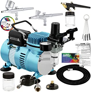 Master Airbrush Cool Runner II Dual Fan Air Compressor Professional Airbrushing System Kit with 3 Airbrushes, Gravity and ...
