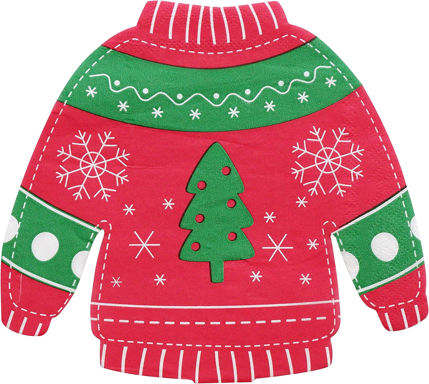 Christmas Party Napkins - 50 Pack Red  Green Ugly Sweater Cockt