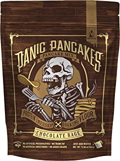 Panic Pancakes Chocolate Rage Complete Pancake & Waffle Mix by Sinister Labs - Decadent chocolate with whole grain oat flour and 20g protein per serving - No Added Sugar - 11.5 oz bag (1-Pack)