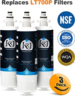 3 PACK - LG LT700P Compatible Refrigerator Water Filters - LG Water Filter Comparable Replacements for LT700P, ADQ36006101, Kenmore 46-9690, NSF 42 Certified