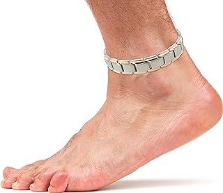 Smarter LifeStyle エレガントなチタン製磁気療法用アンクレット 男女兼用 足や足首の関節炎の痛みや炎症の緩和 アンクレット/大型ブレスレット:(26 cm) シルバー&ローズゴールド
