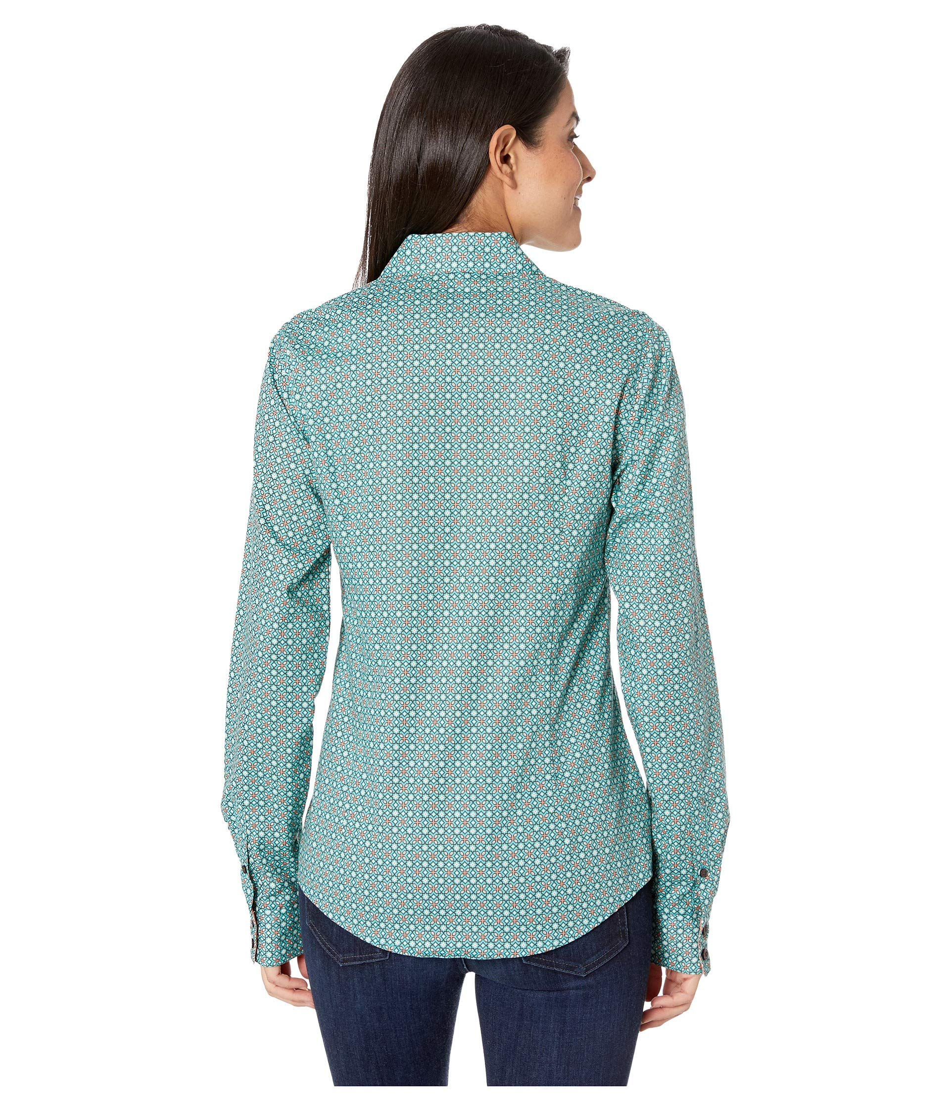 Turquoise Long Sleeve Turquoise Cinch Sleeve Printed Printed Cinch Long TR8gnS