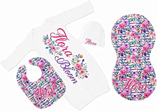 New Baby Girl's Floral Personalized Infant Gown with Hot Pink and Purple Coming Home Outfit