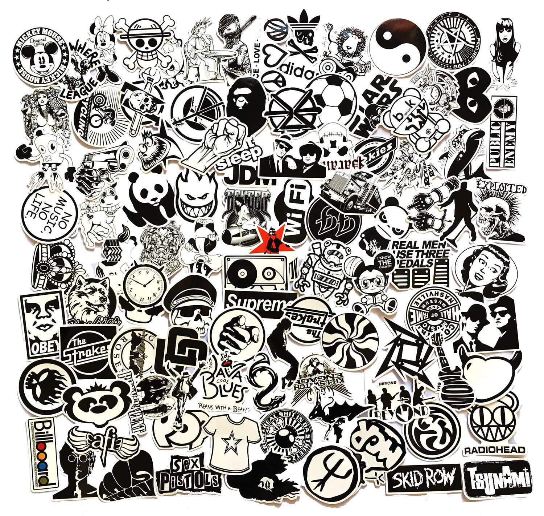 Black and White Seamless Pattern Graffiti Sticker Laptop Bag,Laptop Handbag