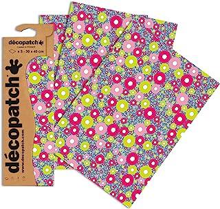 Décopatch C/DPP-552 Dark Circle Paper, Assorted Colours, 30x40 cm (Pack of 3 sheets)