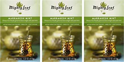 Mighty Leaf Tea Marrakesh Mint Green Tea, 15-Count Whole Leaf Pouches (Pack of 3)