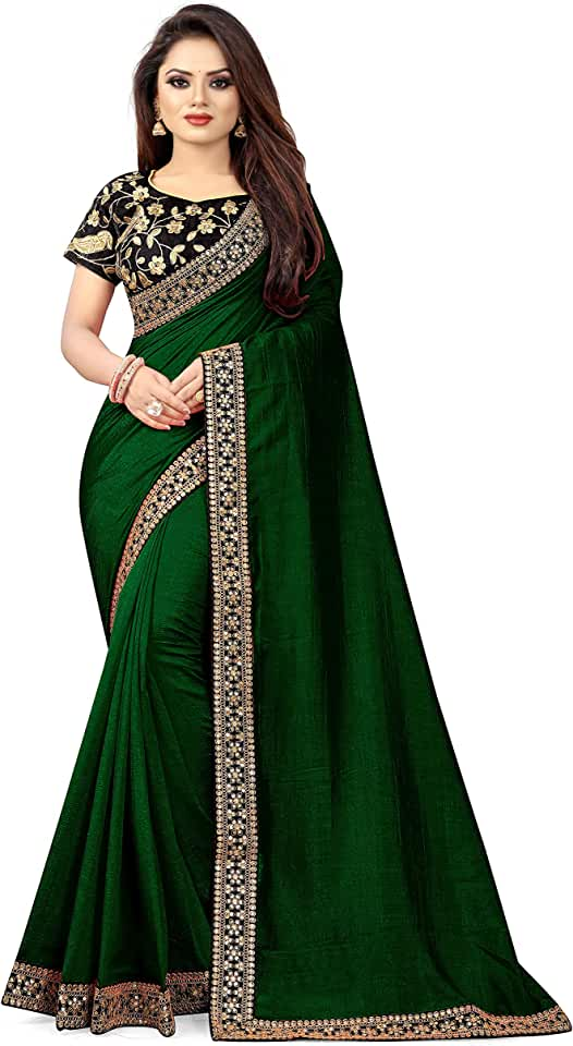 Indian Vichitra Silk Sequence Embroidered Work With Saree Saree