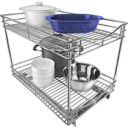 """Lynk Professional Extra Deep Roll Out Double Drawer Cabinet Organizer 14"""" x 21"""" x 16"""" - Pull Out Two-Tier Under Cabinet Shelf - Slide Out Organizer for Kitchen, Pantry, Bathroom, Laundry Room - Chrome"""